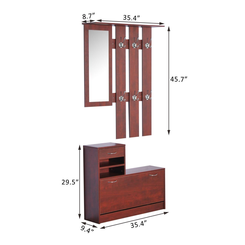 NEW Home Organizer Cabinet Shelf w// Mirror Coat Rack Shoe Storage 2Pc Coffee
