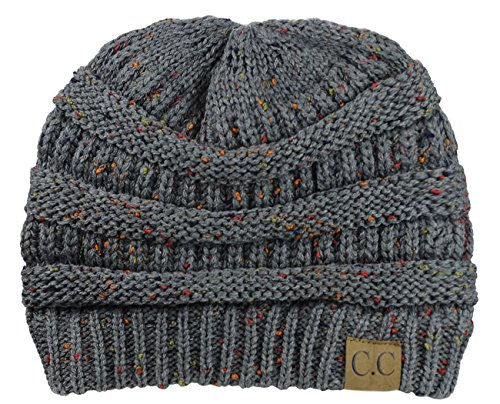 NYfashion101 Exclusive Colorful Confetti Soft Stretch Cable Knit Slouch Beanie - Melange Gray