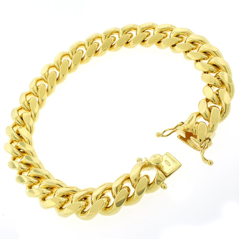 Sterling Silver 12.5mm Miami Cuban Curb Link Thick Solid 925 Yellow Gold Plated Bracelet Chain 9''