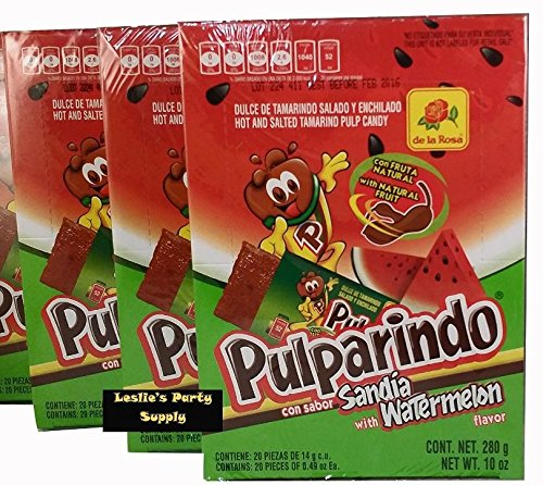 Pulparindo Hot and Salted Tamarind Pulp Candy with Watermelon Flavor, 10 oz box (Pack of 3), (60) 0.49 oz TOTAL CANDIES by De La Rosa
