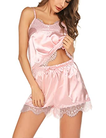 164856d13 Lingerie Pyjama for Party Short Lace Silky Pajama Cami Women's Sleepwear  Nightgown(Pink,S