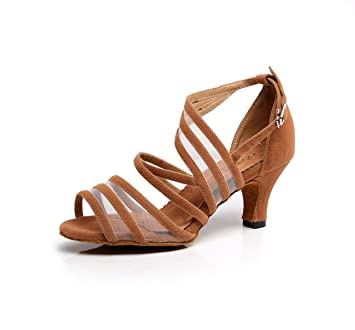 JSHOE Frauen Sexy Latin Tanzschuhe Salsa / Tango / Chacha / Samba / Modern / Jazz Schuhe Sandalen High HeelsBrown-heeled8.5cm-UK6...