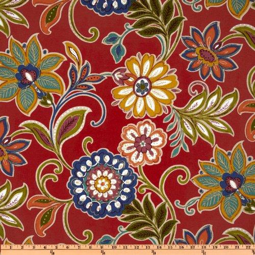 Floral Fabric Rose (Richloom Fabrics Solarium Outdoor Alinea Floral Fabric Pompeii Red)
