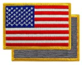 American Flag Embroidered Tactical Patch Gold Border w/ VELCRO Brand Fastener