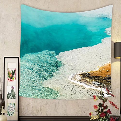 (Grace Little Custom tapestry steam rises from a beautiful deep blue hot spring pool at west thumb geyser basin in yellowstone)