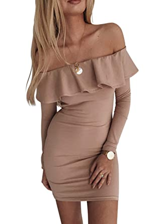 d40be88ced43 Amazon.com: Chase Secret Womens Off Shoulder Stripe Ruffle Bodycon Mini  Club Dress: Clothing
