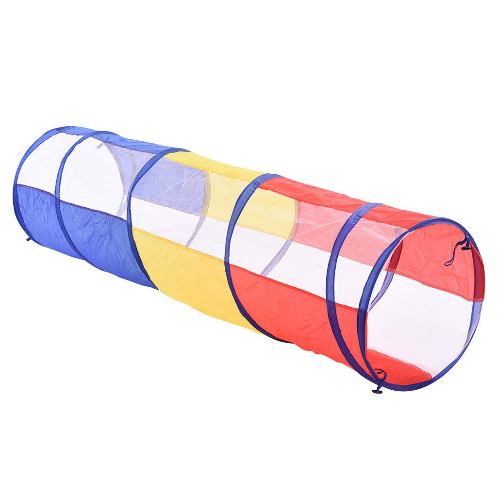Jinjin Children's Early Learning Puzzle Rainbow Crawling Tunnel Tube Portable Folding Child Crawling Four Side Tunnel Game House for Kids Indoor Outdoor Pop-Up Crawl Toy (As Show) by Jinjin