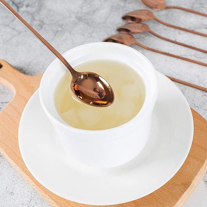 Tuipong Juego de 6 cucharaditas de café de Acero Inoxidable, Cuchara de té de Hielo de Mango Largo, Cuchara de Helado de Desert, Cuchara de Mezcla de ...
