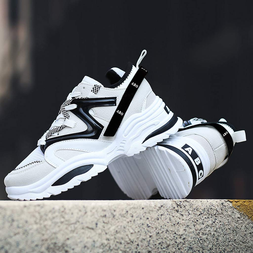 Casual Sneakers for Men の Sameno Street Chunky Sneakers Fashion Walking Shoes Breathable High Top Trainers