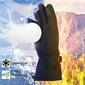 Flexible Warm Skiing Gloves for Men & Women, Navestar Thermal Gloves for Snowboarding & Snowmobile, Winter Touchscreen Gloves with Zippered Pocket -Size XL