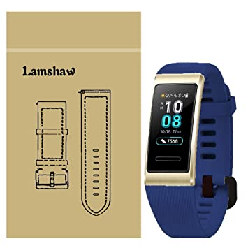 Ceston Silicone Classique Bracelet De Remplacement pour Bracelet Connecté Huawei Band 3 Pro (Bleu)