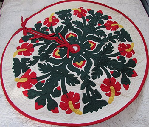 Hawaiian quilt 100% hand quilted/hand appliqued Christmas tree skirt 60'' by Hawaiian Quilt Shop