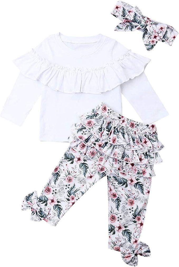 Completo Bambina Casual Carino 2 Pezzi Maglietta a Maniche Lunghe Stampa Floreale Pantaloni Lunghi con Pizzo Tutina Primaverale//Autunnale 1-6 Anni