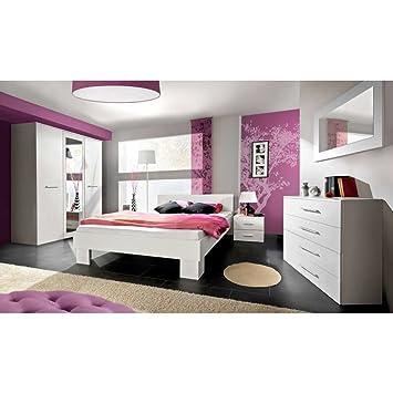 JUSTyou VICKA II Schlafzimmerset Schlafzimmerkombination - Schlafzimmer komplett weiß hochglanz