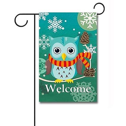 37bd2e835ddc Amazon.com   KafePross Welcome Winter Day Cute Owl in Scarf Garden Flag  12.5