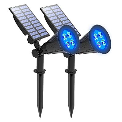 Solar Spotlight, IP65 Waterproof 4 LED Solar Lights Wall Light, Auto-on/Off Security Light Landscape Light 180° Angle Adjustable for Tree, Patio, Yard, Garden, Driveway, Pool Area.T-SUNUS(2 Pack Blue)