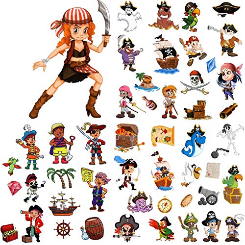 Halloween Girl Pirate Makeup - 174 Pieces Pirate Temporary Tattoos Fake