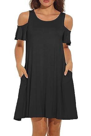 417c53c2ad453 Womens Dress Open Shoulder Casual Dress Short Sleeve Summer Dresses Cold  Shoulder Swing Dress Round Neck