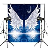 MUEEU 9x6ft Angel Wings Photography Backdrop Moon Star Navy Blue Photo Background for Studio