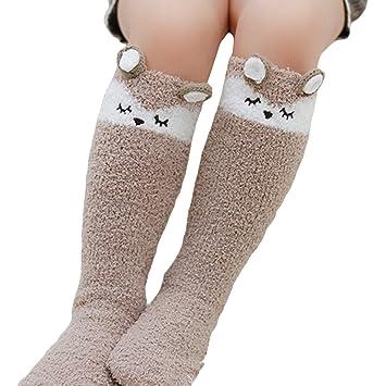 tangbasi® Dibujos Animados Infantil Calcetines de bebé de invierno de terciopelo de coral cálido rodilla alta calcetines calentador de pierna zorro ...