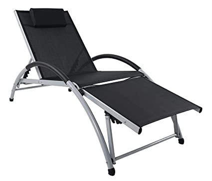 Superb Ukeacn Patio Chaise Lounge Lawn Chair High Strength Aluminum Materials Adjustable Reclining Folding Chairs With Pillow For Outdoor Indoor Home Squirreltailoven Fun Painted Chair Ideas Images Squirreltailovenorg