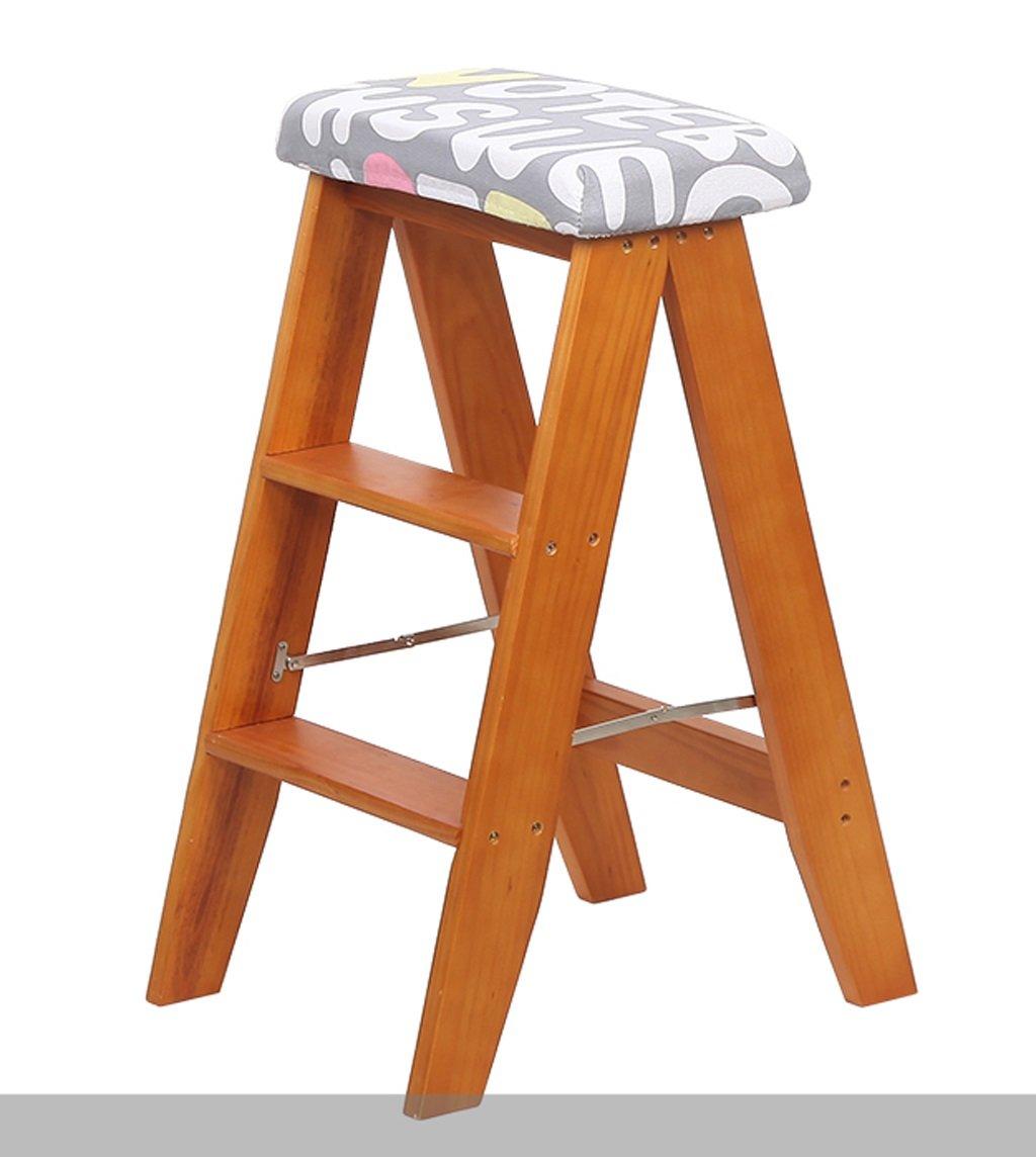 CAIJUN 折りたたみ椅子多目的キッチンポータブルソリッドスモールラダースツール3段シートカバー付き、3色 ステップ (色 : Light walnut, サイズ さいず : 5#) B07DN3WYY6 5# Light walnut Light walnut 5#