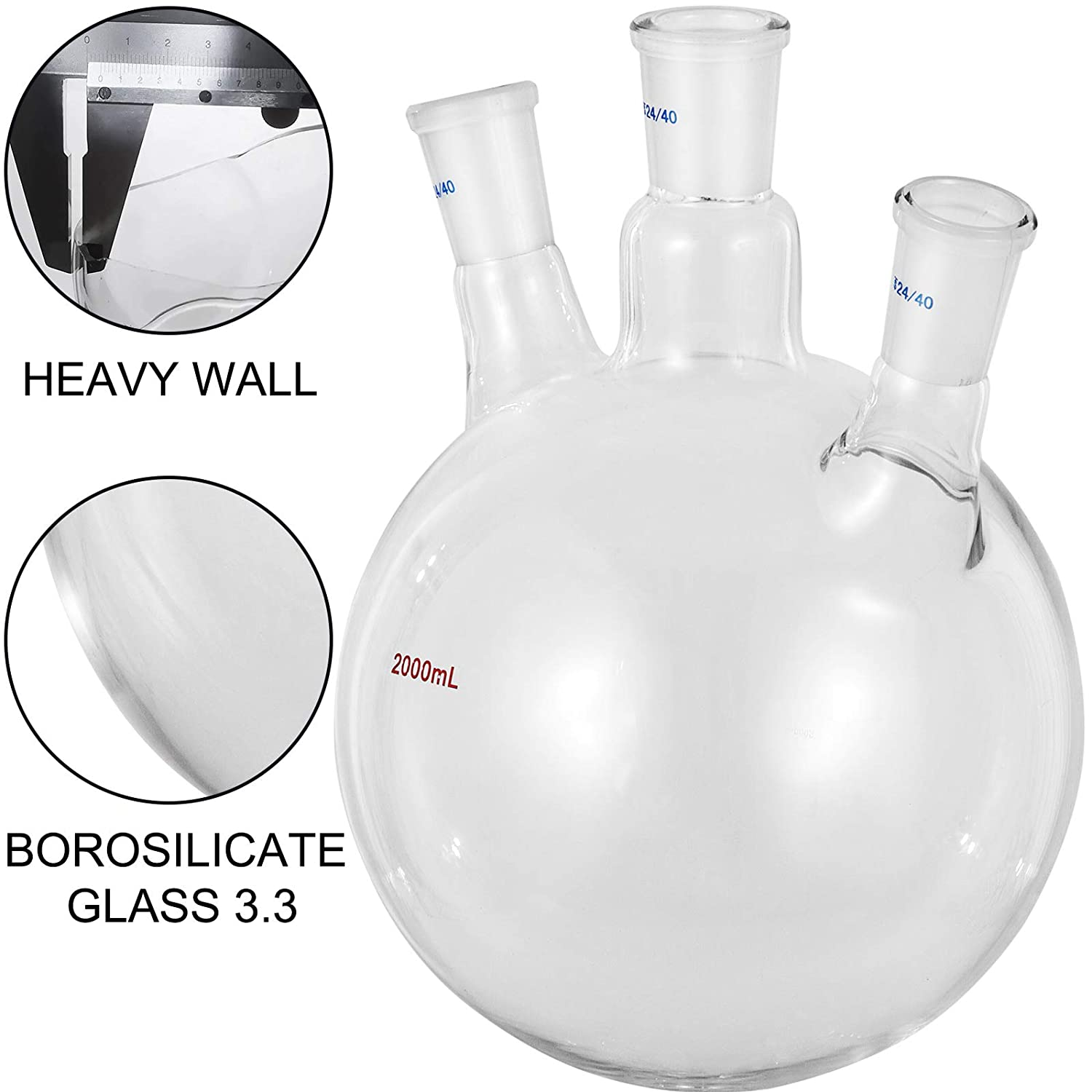 Flask Round Bottom for Vacuum Distillation Apparatus VEVOR Round Bottom Flask 2000 ml Receiving Flask Borosilicate Glass Reaction Flask 3 Neck Boiling Flask with 24//40 Standard Taper Ground Joint