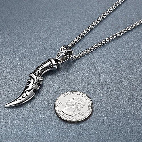 Aoiy - Collier avec pendentif hommes - Acier Inoxydable - couteau tribal poignard - chaîne 61cm - aap072