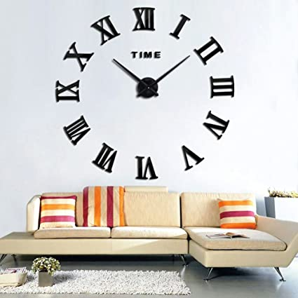 Xinlands diy wall clock large silent 3d acrylic sticker roman numbers adhesive modern art wall clock