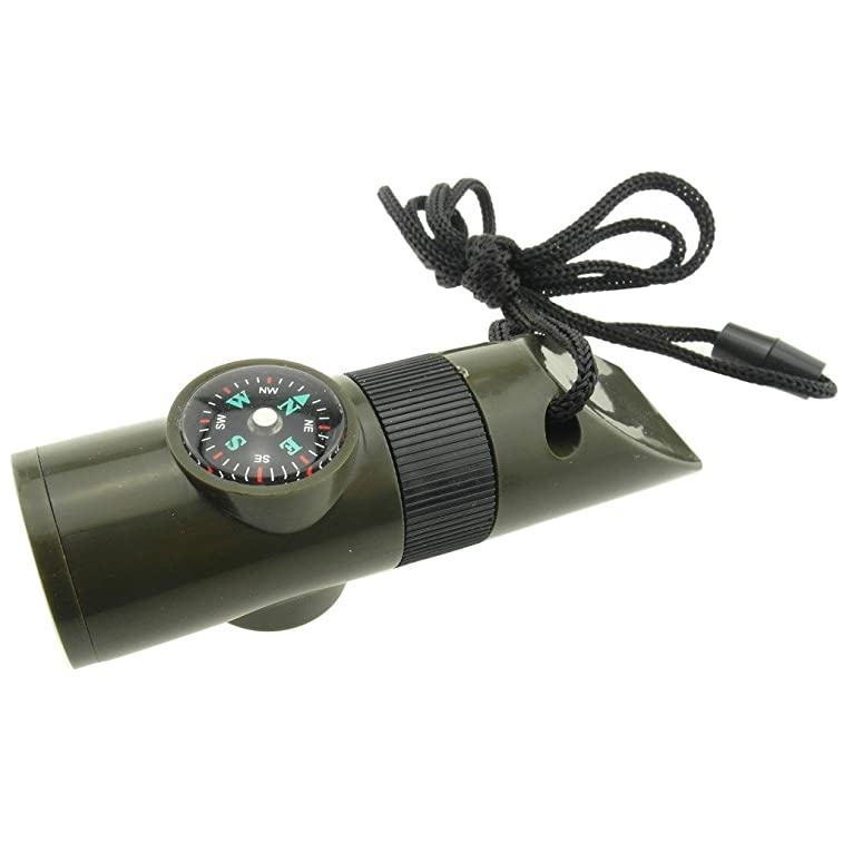 TrendBox Multifunctional 7 in 1 Camping Hiking Outdoor Whistle with Compass Magnifier LED Flashlight Thermometer For Emergency Survival Traveling