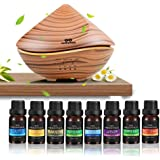 infinitoo Essential Oils Diffuser, 500ml Wood Grain Ultrasonic Diffuser Auto Shut-Off Cool Mist Humidifier with 8 Bottle…