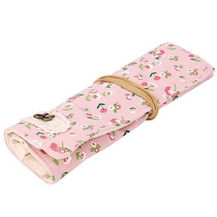 yjydada Vintage Flores Floral bolsa de lápiz pluma caso ...