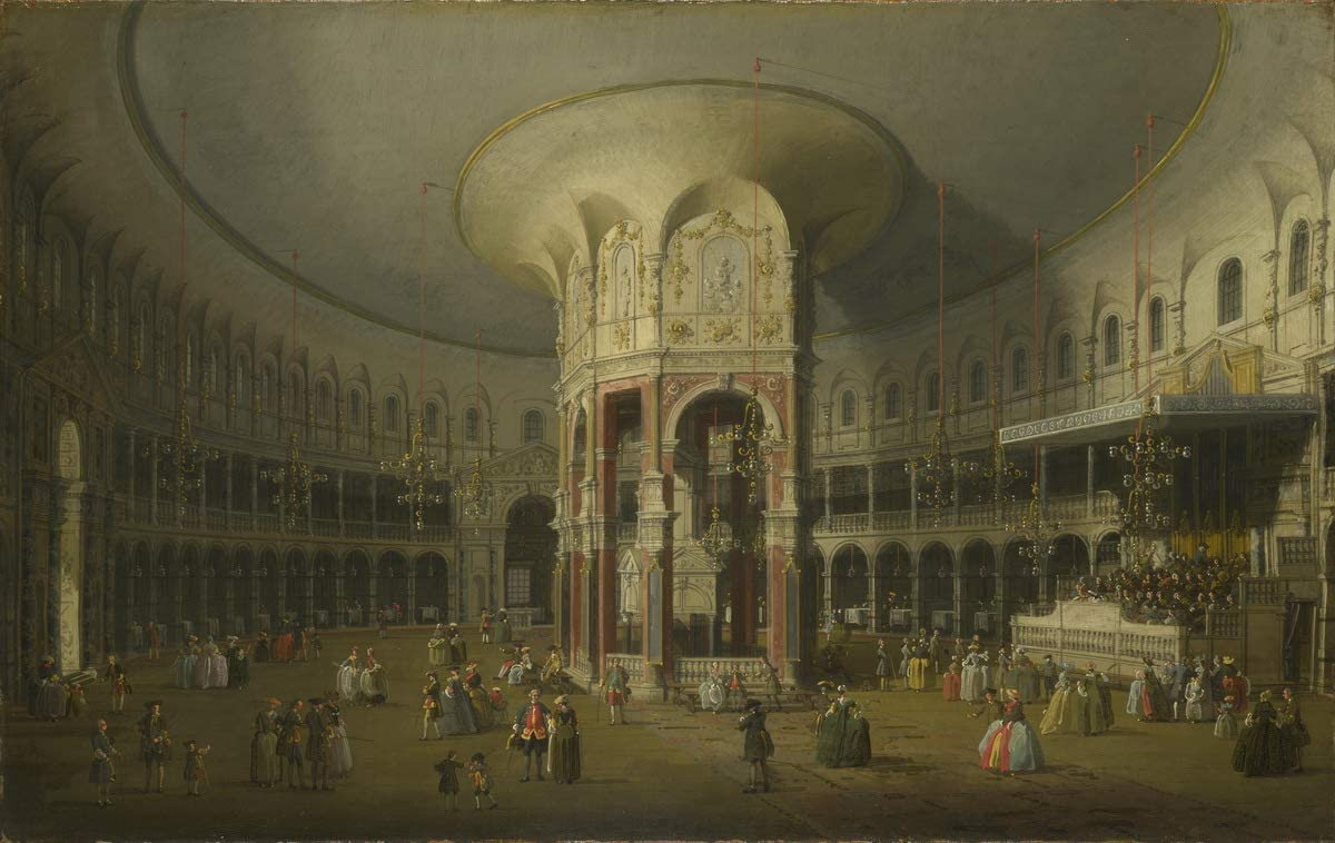 Berkin Arts Canaletto Giclee Print On Canvas-Famous Paintings Fine Art Poster-Reproduction Wall Decor(London Interior of The Rotunda at Ranelagh) Large Size 31.5 x 19.9inches