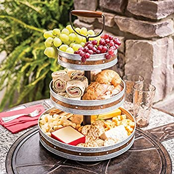 Enameled Galvanized 3 Tier Collapsible Server with Wood Handle & Food Safe Steel (Gray with Copper Band)
