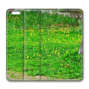 iPhone 6 Leather Case, Personalized Protective Flip Case Cover Yellow Flowers 6 for New iPhone 6