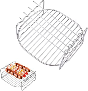 HSIULMY Air Fryer Double Layer Rack, Multi-purpose Air Fryer Accessories with 4 Skewers, 6.8 Inch Stainless Steel Airfryer Grill Pan Compatible with Go Wise/Phillips Airfryer(Fit 3.5-5.8QT)