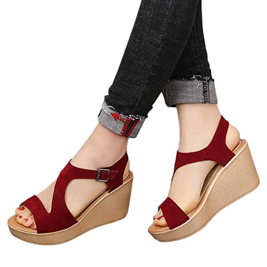 3743d311dfc Amazon.com  JJLIKER Women Suede Peep Toe Hollow Chunky Platform Wedges  Sandals Ankle Buckle Adjustable Strap Shoes  Clothing