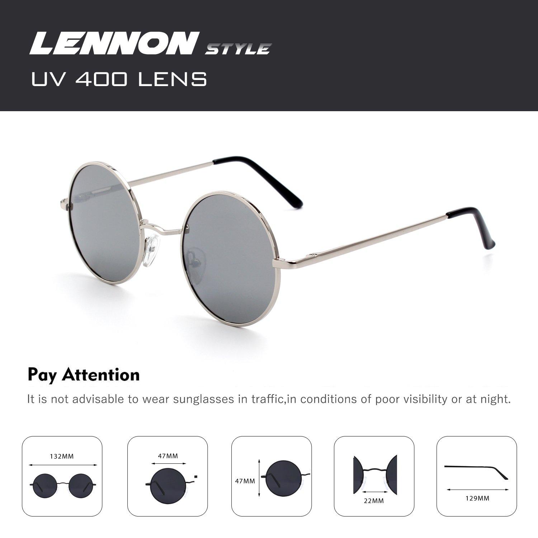 07f5382ef9 CGID E01 Estilo Vintage Retro Lennon inspirado círculo metálico redondo  gafas de sol polarizadas para hombres ...