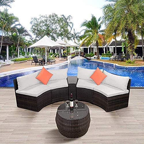 LZ LEISURE ZONE 6-Piece Outdoor Patio Sofa Furniture Sets, Half-Moon Sectional Furniture Wicker Sofa Set with Two Pillows and Coffee Table Beige