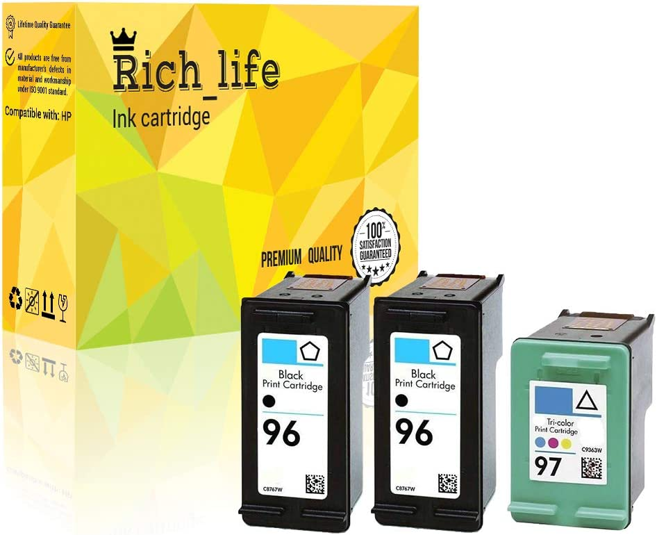 Rich_life Remanufactured Ink Cartridge Replacement for HP 96 for HP96 C8767WN & HP 97 for HP97 C9363WN BK/CL Designjet Officejet Photosmart Deskjet 3 Pack (2 Black, 1 Tri-Color)