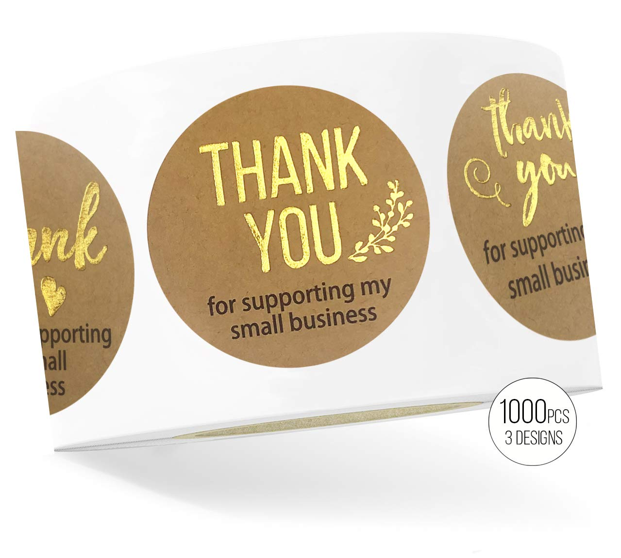 LaPaper - Kraft Thank You Stickers with Gold Foil | Round 1,5 inches | Bulk 1000 Labels Per Roll | 3 Designs for All Occasions: Wedding, Baby Shower, Business, Graduation, Gifts, Party Favors, Cards by LaPapier