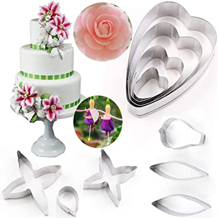 Cake Molds Bakeware Free Shipping Hot 4pcs Fondant Cake Decoration Rose Leaf Cutter Gum Paste Flower Cutter Stainless Steel Peony Cutter Set