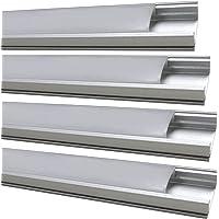 LED Atomant Kit 4 x aluminium profiel voor ledstrip doorschijnend deksel inclusief eindkappen en bevestigingstabs, 0 W…