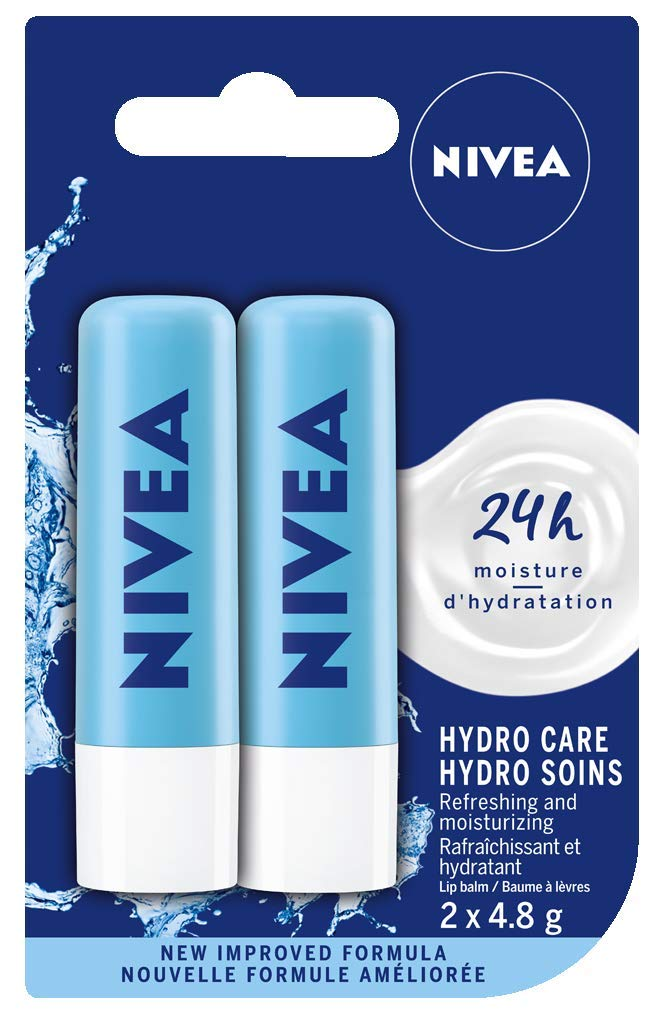 NIVEA Hydro Care Lip Balm Sticks, Duo Pack (2 x 4.8 g) product image
