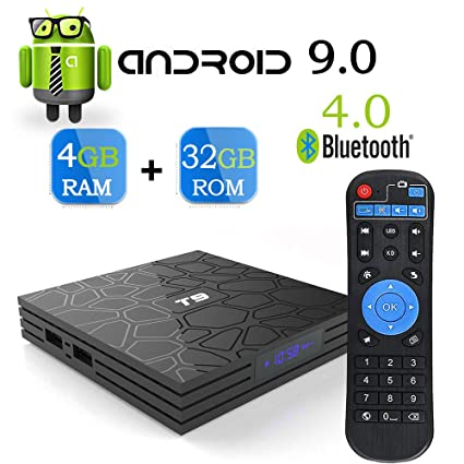 Android 9 0 TV Box,T9 Android Box with 4GB RAM 32GB ROM Quad-Core  Cortex-A53 Supports 2 4GHz/5GHz WiFi 4K Ultra H 265 BT4 0 Smart Set Top Box
