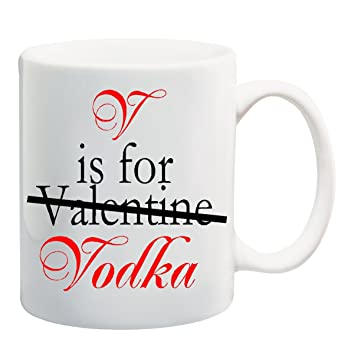 v is for valentine vodka mug cup 11 ounces valentine vodka