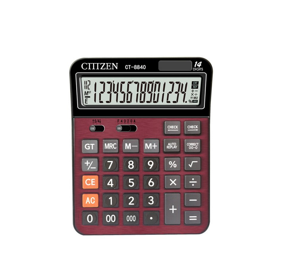 Amanstino Calculator, Large 14-digit Electronic Desktop Calculator - Battery & Solar Powerd Standard Function Desktop Business Calculator with LCD Display Screen for Home & Office Use
