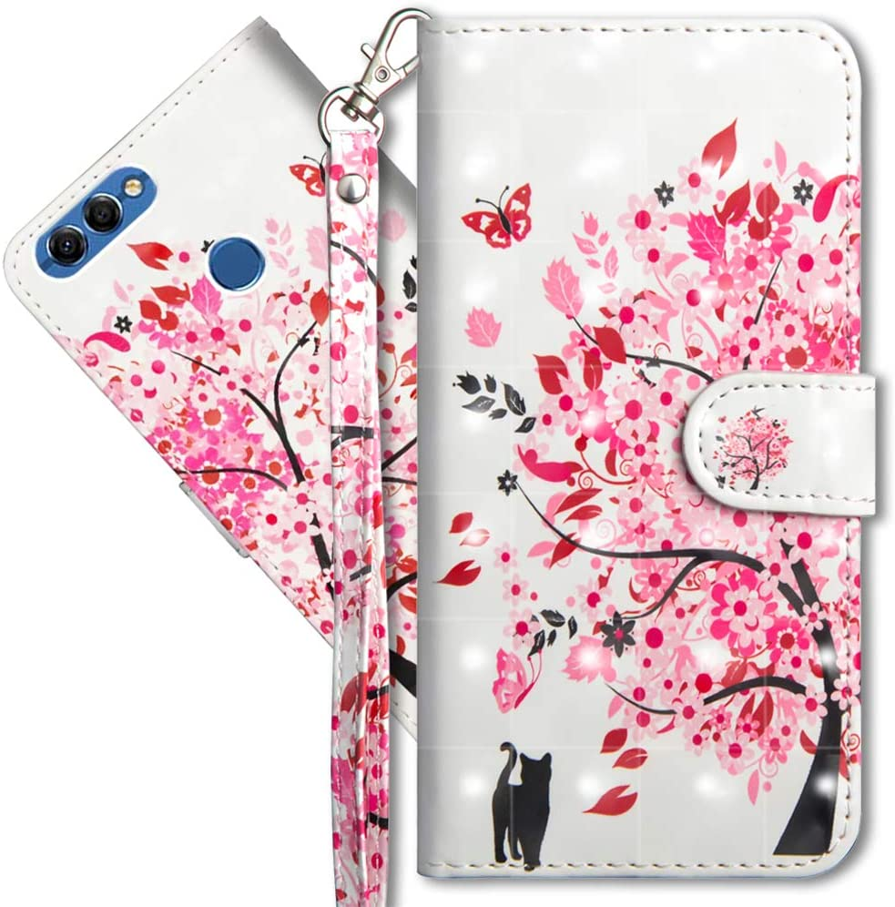 YX 3D Butterfly Spring Honor 7S 3D Brillos Carcasa Libro Flip Case Antigolpes Cartera PU Cuero Funda con Soporte para Huawei Y5 2018 MRSTER Funda para Huawei Y5 2018