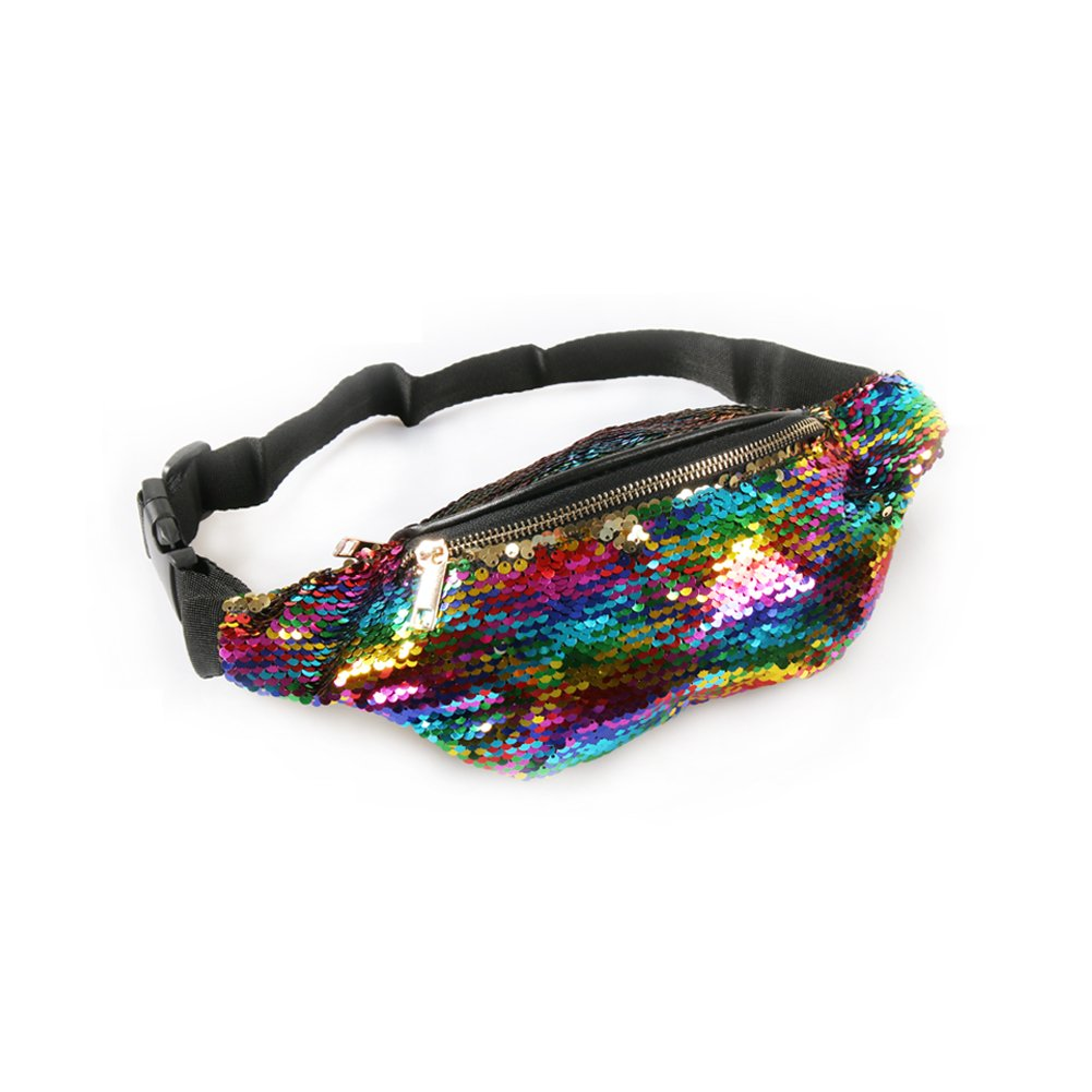 Unisex Mermaid Sequin Fanny Waist Pack for Women - Colorful Glitter Bags with Adjustable Strap (Rainbow/Gold)