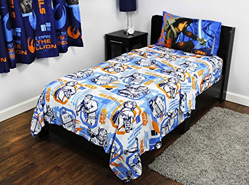 8pc Star Wars Twin Bedroom Set Rebels Fight Comforter Sheets and Window Panels with Tie-Backs by Disney (Image #2)
